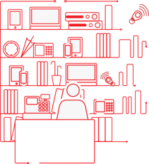 Graphic of an office desk and bookshelf holding office equipment and documents that warrant a solid defensible disposition strategy.