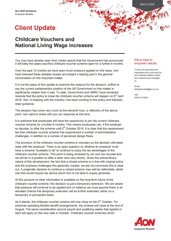 Childcare Vouchers & National Living wage Increase