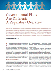 Government Plans Are Different: A Regulatory Overview