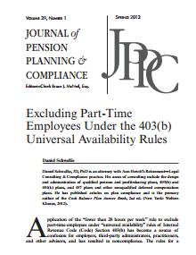 Excluding Part-Time Employees Under the 403(b) Universal Availability Rules
