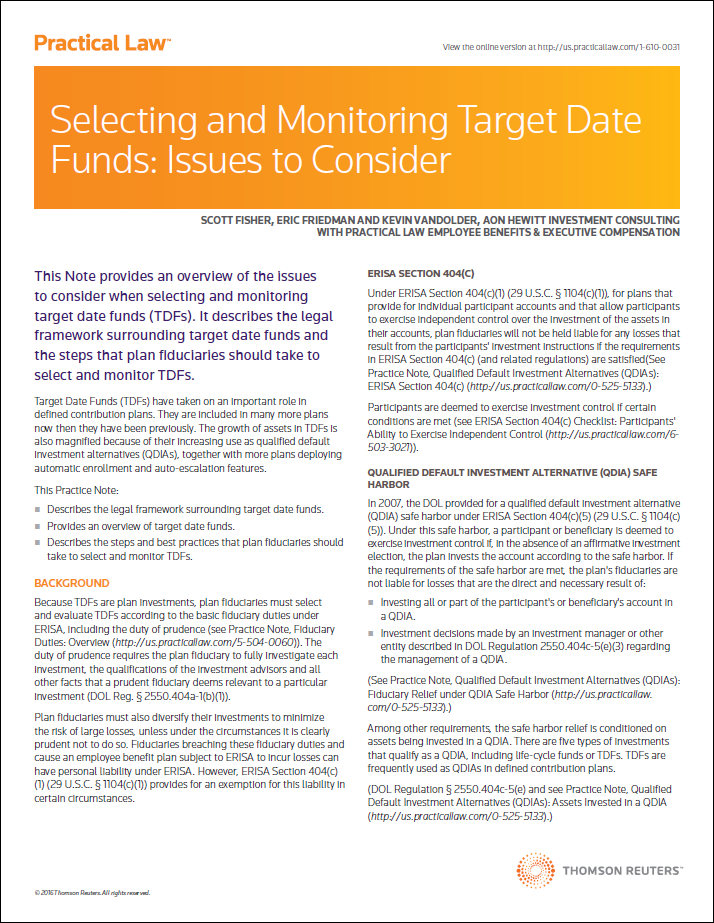 Selecting and Monitoring Target Date Funds: Issues to Consider