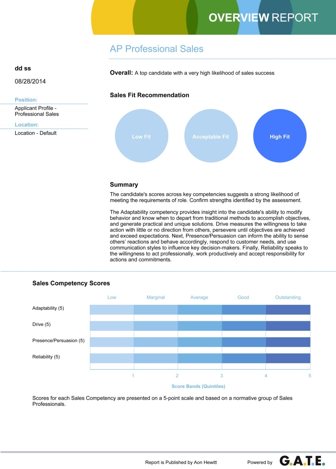 assessment and selection applicant profile professional s aon applicant profile professional s scoring report