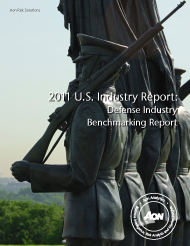 benchmarking in the aerospace industry 2011 us industry report: defense industry benchmarking report as the world's leading risk advisor and insurance broker, aon is proud to provide our clients with superior service and the most informative risk insights and data available one of the benefits of having an unmatched global network is the ability to capitalize.
