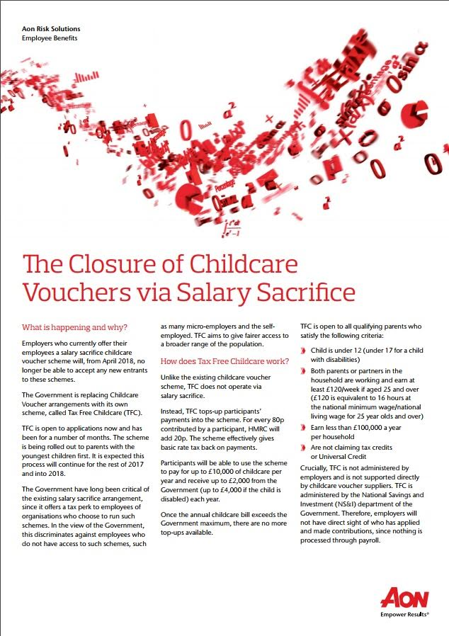 The Closure of Childcare Vouchers via Salary Sacrifice