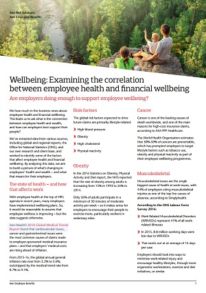 Wellbeing: Examining the correlation between employee health and financial wellbeing summary