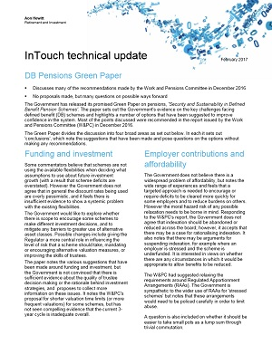 In Touch – a Green Paper for DB pensions