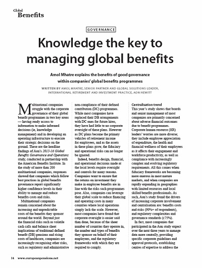 Knowledge the key to managing global benefits