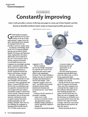 Global benefits governance: constantly improving