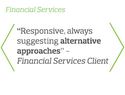 Responsive, always suggesting alternative approaches - Financial Services Client